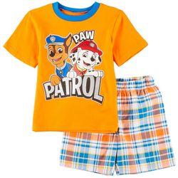 Nickelodeon Paw Patrol Little Boys Plaid Shorts Set