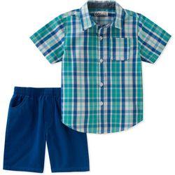 Kids Headquarters Little Boys Plaid Button Front Shorts Set