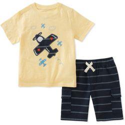 Kids Headquarters Little Boys Airplane Stripe Shorts Set
