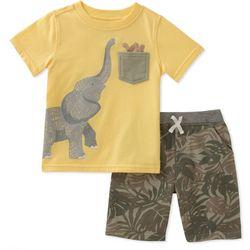 Kids Headquarters Little Boys Elephant Pocket Shorts Set