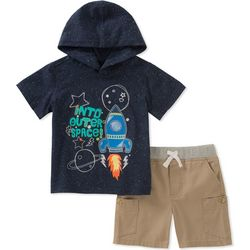 Kids Headquarters Little Boys Space Hooded Shorts Set