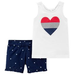 Carters Toddler Girls Heart & Stars Tank Shorts Set