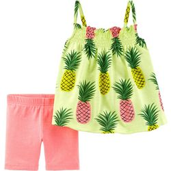 Carters Toddler Girls Pineapple Tank Shorts Set