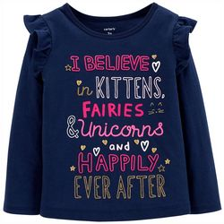 Carters Toddler Girls I Believe Ruffle Long Sleeve T-Shirt