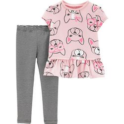 Carters Toddler Girls French Bulldog Stripe Leggings Set