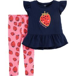 Carters Toddler Girls Berry Amazing Ruffle Leggings Set