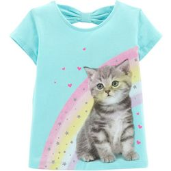 Carters Toddler Girls Rainbow Kitten Short Sleeve T-Shirt