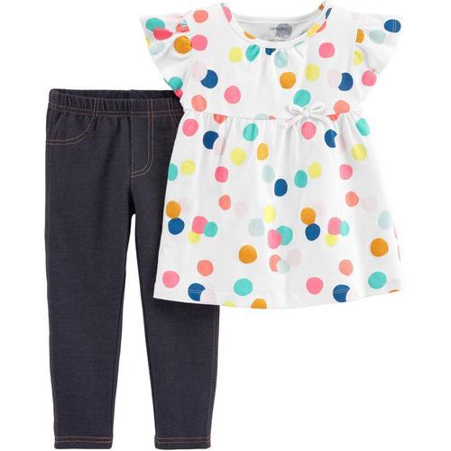 814571e45 Carters Toddler Girls Polka Dot Jeggings Set