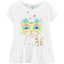 Carters Toddler Girls Pineapple Cat Peplum Top