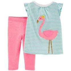 Carters Toddler Girls Stripe Flamingo Capri Leggings Set