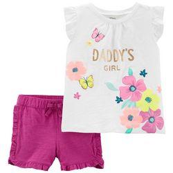 Carters Toddler Girls Daddy's Girl Ruffle Shorts Set