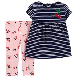Carters Toddler Girls Striped Cherry Print Leggings Set