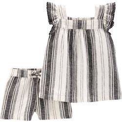 Carters Toddler Girls Striped Pom Pom Shorts Set