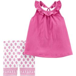 Carters Toddler Girls Crinkle Tank Floral Shorts Set