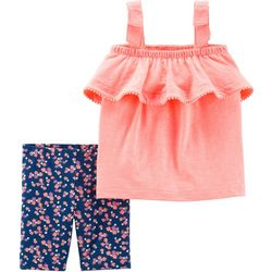 Carters Toddler Girls Ruffle Tank Floral Shorts Set