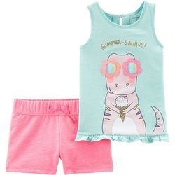 Carters Toddler Girls Summer-Saurus Tank Shorts Set