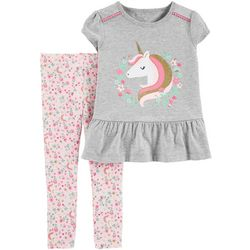 Carters Toddler Girls Floral Unicorn Peplum Leggings Set