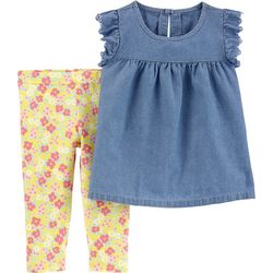 Carters Toddler Girls Chambray Floral Leggings Set
