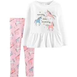 Carters Toddler Girls Sparkly Like Mommy Unicorn Legging Set