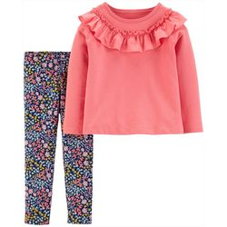 Carters Toddler Girls Solid Ruffle & Floral Leggings Set