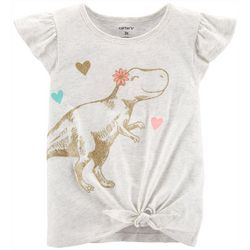 Carters Toddler Girls Sparkly Dinosaur Tie Front Top