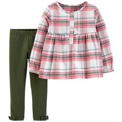 Carters Toddler Girls Plaid Three-Button Leggings Set