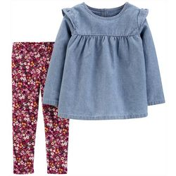 Carters Toddler Girls Chambray Top & Floral Leggings Set