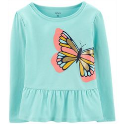 Carters Toddler Girls Sparkly Butterfly Long Sleeve Top
