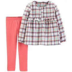 Carters Toddler Girls 2-pc. Plaid Ruffle Leggings Set