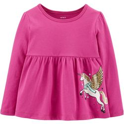 Carters Toddler Girls Sparkly Pegasus Long Sleeve Top