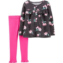 Carters Toddler Girls Floral Print Ruffle Trim Leggings