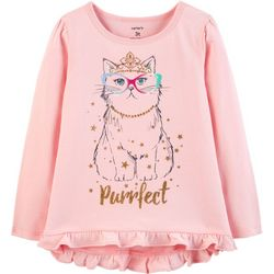 Carters Toddler Girls Purrfect Ruffle Long Sleeve T-Shirt