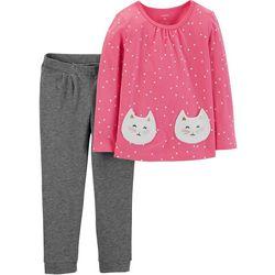 Carters Toddler Girls Kitty Dots Leggings Set