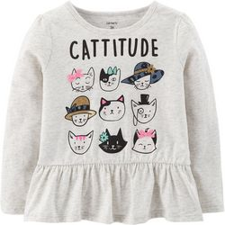 Carters Toddler Girls Cattitude T-Shirt