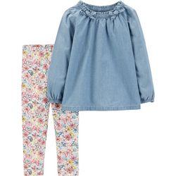 Carters Toddler Girls Chambray Tunic Floral Leggings Set