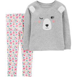 Carters Toddler Girls Fleece Bear Heart Leggings Set