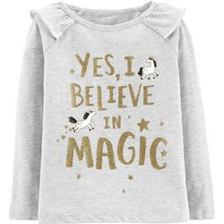 Carters Toddler Girls Yes, I Believe In Magic Ruffle T-Shirt