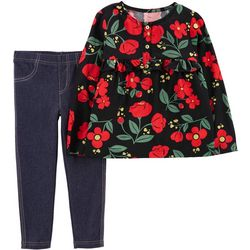 Carters Toddler Girls Poppy Flower Tunic Jeggings Set