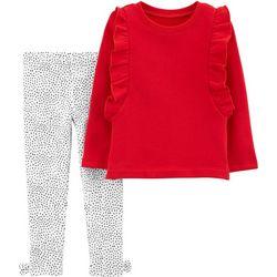 Carters Toddler Girls Ruffle Dot Leggings Set