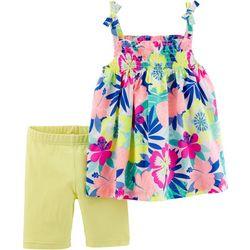 Carters Toddler Girls Tropical Tie Shoulder Shorts Set