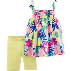 Carters Toddler Girls Tropical Tie Shoulder Shorts Set