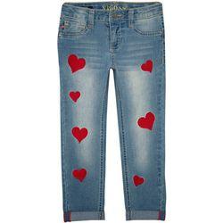 Vigoss Toddler Girls Heart Embroidered Roll Cuff Jeans