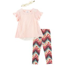 Self Esteem Toddler Girls 3-pc. Floral Chiffon Leggings Set