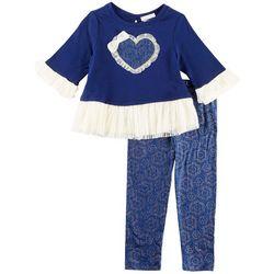 Forever Me Toddler Girls Floral Heart Leggings Set