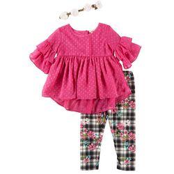 Forever Me Toddler Girls 3-pc. Floral Plaid Leggings Set