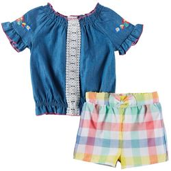 Forever Me Toddler Girls 2-pc. Denim & Plaid Short Set