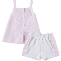 Forever Me Toddler Girls 2-pc. Striped Ruffle Short Set