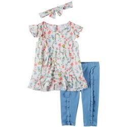 Forever Me Toddler Girls 3-pc. Floral Ruffle Leggings Set