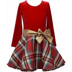 Bonnie Jean Toddler Girls Plaid Bow Long Sleeve