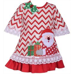 Bonnie Jean Toddler Girls Chevron Santa Face Dress